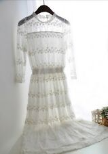 White Victorian Edwardian Lace Wedding Gown Lawn Dress Princess 1900s Vtg S M L