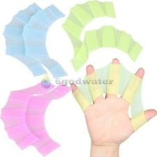 Silicone Hand Swimming Fins Flippers Swim Palm Finger Webbed Gloves Paddle