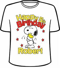 Many Tee Colors-Personalized Snoopy and Woodstock Birthday T-Shirt