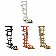 New Women Lace Up Knee-High Boot Strappy Flat Gladiator Sandal Shoe