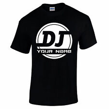 Personalised DJ Logo ADD YOUR NAME Rave House Grime D&B Music Mens T Shirt