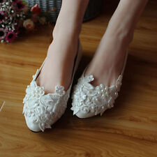 New Women Simple Style Handmade Flat Bridal Shoes White Pearl Lace Wedding Shoes