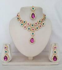 4 pc Indian Bollywood Swarovski Diamante Fashion Jewellery Necklace Set