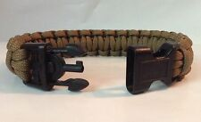 Military Police Coyote Brown Paracord Survival Bracelet w/ Handcuff Key Buckle