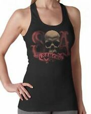 AUTHENTIC SONS OF ANARCHY BLACK 100% COTTON LADIES TANK- SKULL CANDY