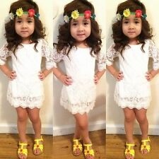 New Baby Girls White Lace Short Sleeve Party Formal Princess Dress fit 2-7T