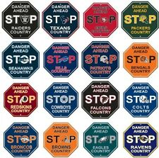 "NFL Football STOP SIGNS 12"" x 12"" DANGER AHEAD -Assorted Team"