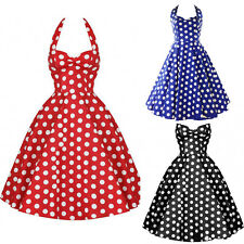 Vintage Rockabilly Polka Dot Retro Swing 50s 60s pinup Housewife Party Dress