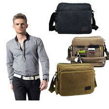 Mens Vintage Canvas School Satchel Military Shoulder Messenger Travel Hiking Bag