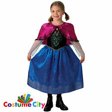 Girls Official Disney Frozen Anna Deluxe Outfit Fancy Dress Costume