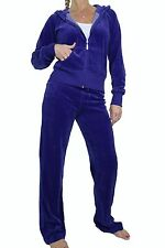 NEW (6327-13) Womens Hooded Velour Yoga Jogging Lounge Suit Royal Blue 6-20