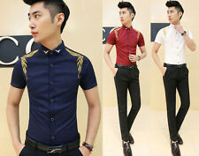 New Mens Pop Gold Leaf Embroidered Slim Fit Summer Short Sleeve Casual Shirt Top