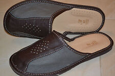 Mens Genuine Thick Leather Slippers Shoes Sandals Dark Brown Handmade Orthopedic