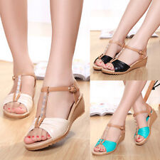 Trendy Leisure Buckle Crystals T Strap Sandals Mid Heels Wedges Splice Shoes