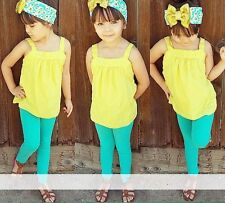 New Baby Girls Toddler Clothing Set Sleeveless Yellow Top + Blue Pants 2 Pcs