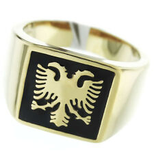 Double Headed Eagle Gold EP Stainless Steel Mens Ring