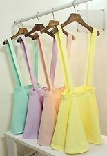 Elegant Womens Waist Suspender Skirt Pastel Skater Flared Pleated Mini Dress
