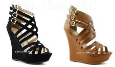 Womens Gladiator Sandals Platform Wedge Heels Strap Cage Ankle Booties Shoes