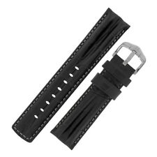 Hirsch PROFESSIONAL Alligator Embossed Leather Ribbed Watch Strap in BLACK