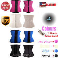 Women Latex Slim Waist Trainer Cincher Steel Boned Rubber Corset Body Shaper C86