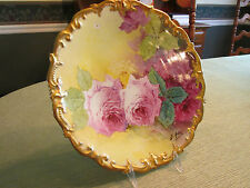 """LOVELY LIMOGES HAND PAINTED ROSES Charger 12.5"""" Wide SIGNED B. AUBIN"""