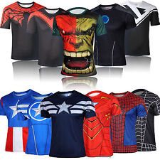 Mens Marvel Comics Superhero Cosplay Costume Compression Jersey Tee Top T-Shirt
