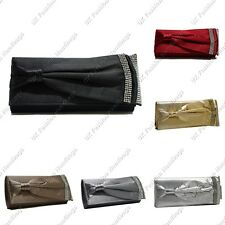 Bow Pleated Diamante Crystal Satin Wedding Prom Party Evening / Clutch Bag
