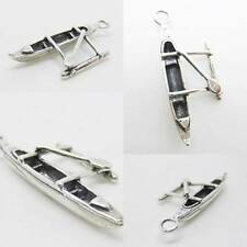 OUTRIGGER HAWAII CANOE 925 Sterling Silver Charm Pendant w Spacer Chain Bracelet