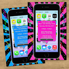 Personalised Boys Girls Adults Birthday Party Invites & Envs Smart Phone Style