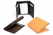 Men's Leather 6 Credit Card 1 ID Window Holder Tri-Fold Wallet w/Zipper Pocket