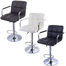 1PC Swivel Bar Stool PU Leather Modern Adjustable Hydraulic Barstool w/ Arm