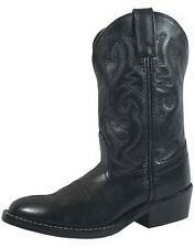 SMOKY MOUNTAIN BLACK LEATHER DENVER 3032Y YOUTH Cowboy Western Boots Shoes NEW