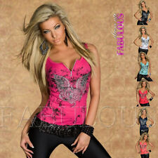 Sexy Women's Top Size 6 8 10 12 Party Casual Singlet Shirt Tattoo Print Clothing