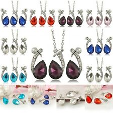 Wedding Fashion Women Teardrop Rhinestone Earrings Necklace Crystal Jewelry Set