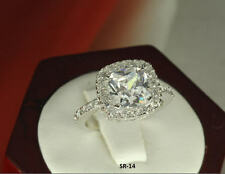 5.53 CT STERLING SILVER CUSHION CUT CZ VTG ANNIVERSARY ENGAGEMENT WEDDING RING
