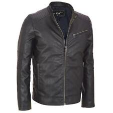 Black Rivet Mens Faux-Leather Cycle Jacket W/ Tab Collar