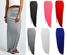 NEW GIRLS AND WOMENS  RUCHED SIDE SPLIT SLIT MAXI SKIRT DRESS SIZE 8-14