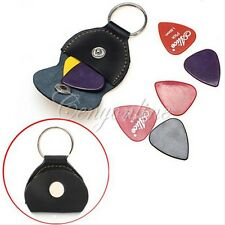 24Pcs Picks + PU Leather Keychain Guitar Pick Holder Plectrum Bag Black Case