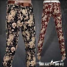 New Mens cotton floral Slim fit Trousers Fight Skin Casual Jeans pencil Pants