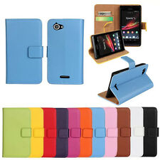 Genuine Leather Wallet Stand Flip Card Case Cover Protector Skin For Sony Xperia
