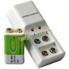1x 9V 6F22 PPS 300mAh Ni-Mh Rechargeable Battery and Dual Batteries Charger