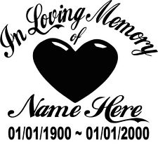 In Loving Memory Of - Heart Love Sticker Decal Window Memorial Personalized