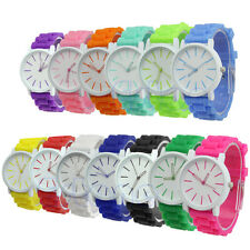 HOT! Silicone Rubber Women Geneva Jelly Casual Sports Gel Quartz Wrist Watch