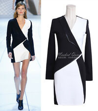 J343 WOMEN RUNWAY DESIGNER BLACK WHITE MINI DRESS COCKTAIL EVENING GOWN
