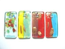 Dichroic glass 50mm rectangle pendant lampwork beads