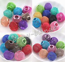 Mixed Basketball Wives Earring Hoops Spacer Loose Mesh Beads Craft 12/14/16/20mm