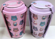Owl Take Away Thermal Insulated Ceramic Double Walled Cup Travel Mug Silicon Lid