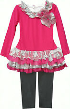 Isobella & Chloe Sophia Fuschia Pink and Gray 2 piece Tunic Tulle Set