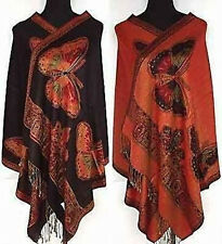 Noble Double-Faced Black Chinese Butterfly Women Pashmina Silk Shawl/Scarf 135