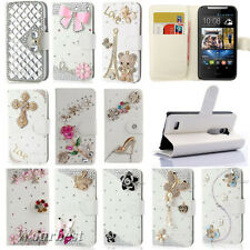 Bling Diamond Crystal PU Leather Card Wallet Case Stand Cover Skin For HTC Phone